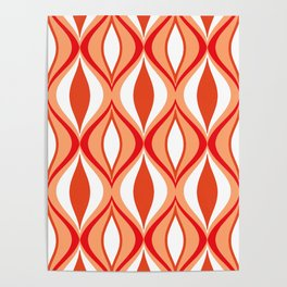 Mid-Century Modern Diamonds, Orange and White Poster