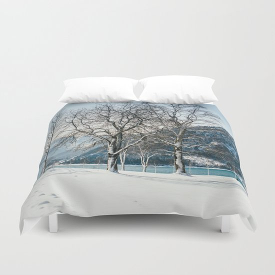 Trees By A Winter Lake Duvet Cover