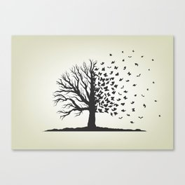 dried tree with branches and flying butterflies Canvas Print