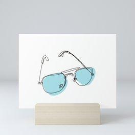Blue Aviators Sunglasses - Contour Line Drawing Mini Art Print