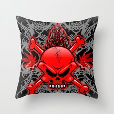 Red Fire Skull with Tribal Tattoos Throw Pillow