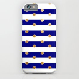 Blue stripes and gold design iPhone Case