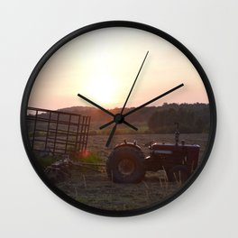 Tractor Sunset Wall Clock