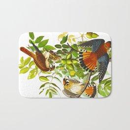 Sparrow Vintage Scientific Bird & Botanical Illustration Bath Mat