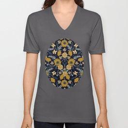 Navy Blue, Turquoise, Cream & Mustard Yellow Dark Floral Pattern Unisex V-Ausschnitt