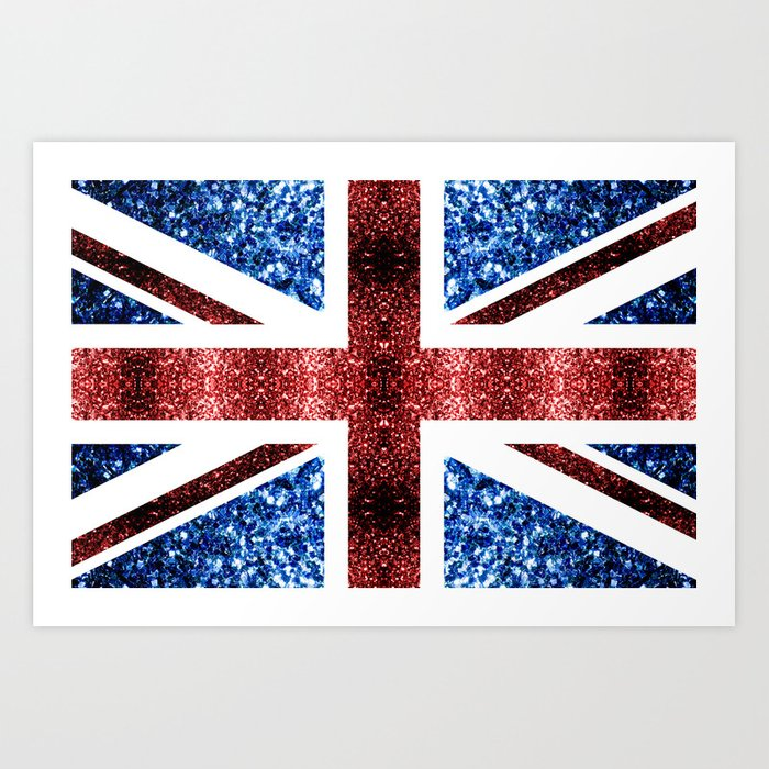 United Kingdom UK flag blue and red sparkles Art Print