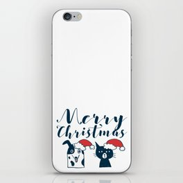 Cute Santa Dog & Cat Illustration iPhone Skin