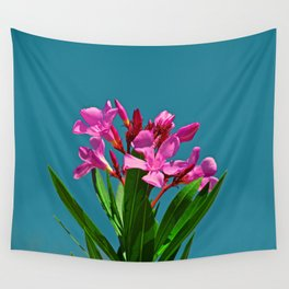 Pretty in pink under turquoise sky Wall Tapestry