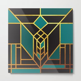 Art Deco Leaving A Puzzle In Turquoise Metal Print