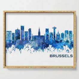 Brussels Belgium Skyline Blue Serving Tray