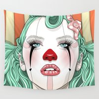 clown Wall Tapestries featuring Clown Girl by Tavo Montañez