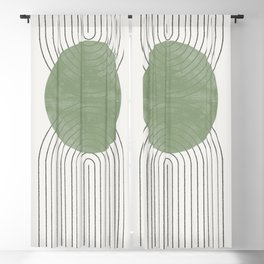 Green Moon Shape Blackout Curtain