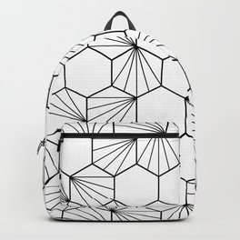 Peacock comb black white geometric pattern Backpack