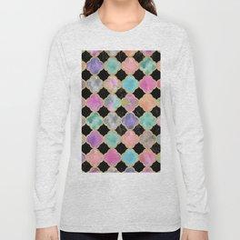 Colorful black watercolor faux gold glitter quatrefoil Long Sleeve T-shirt