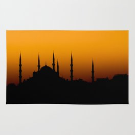 Beautiful silhouette of a mosque at sunset Rug