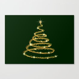 Abstract neon sparkling golden Christmas tree with glittering decorations on a dark green background Canvas Print