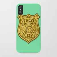 taco iPhone & iPod Cases featuring Taco Cop by Josh LaFayette