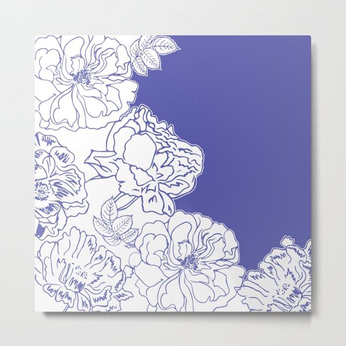 FLORAL IN BLUE Metal Print