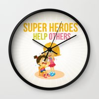 super heroes Wall Clocks featuring Super Heroes Help Others by youngmindz