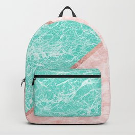 Turquoise teal pink rose gold geometrical marble Backpack
