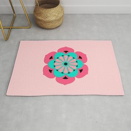 Lotus Flower Mandala, Coral Pink and Turquoise Rug