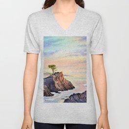 Pebble Beach Lone Cypress Tree Unisex V-Neck