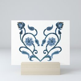 Blue Paisley Heart Mini Art Print