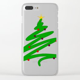 Minimalist Green Christmas Tree Doodle with Ornaments and Star Clear iPhone Case