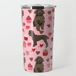 Poodle brown coat color valentines day pet portraits dog lover gifts dog breed portraits Travel Mug