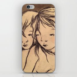 Girls caught in the wind iPhone Skin