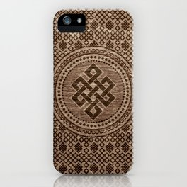 Endless Knot Decorative on Wooden Surface iPhone Case