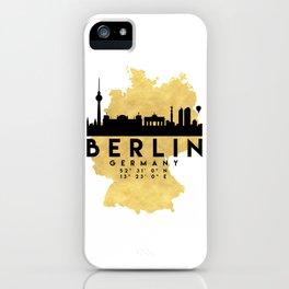 BERLIN GERMANY SILHOUETTE SKYLINE MAP ART iPhone Case