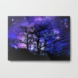Black Trees Blue Violet Purple Space Metal Print