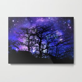 Black Trees Blue Violet Purple Space Metal Print