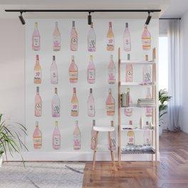 Watercolor Rosé Wine Bottles Wall Mural