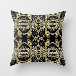 art deco jewelry bohemian champagne gold black rhinestone Throw Pillow