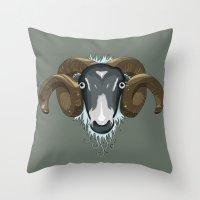 ram Throw Pillows featuring Ram by Stu Jones