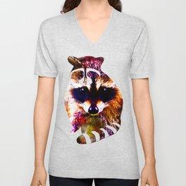 raccoon watercolor splatters Unisex V-Neck