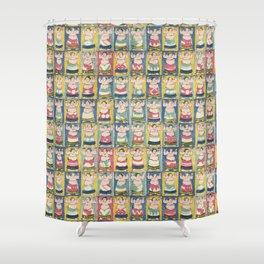 Sumo Wrestlers Japanese Vintage Print Shower Curtain