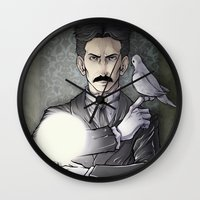 tesla Wall Clocks featuring Tesla by Isara