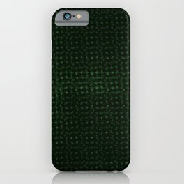 Green pattern on a black background. iPhone Case