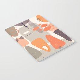 Mid Century Shapes Pattern Orange Notebook