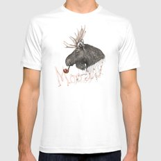 moose MEDIUM White Mens Fitted Tee