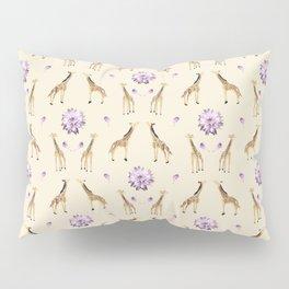 Giraffes And Flowers Pillow Sham