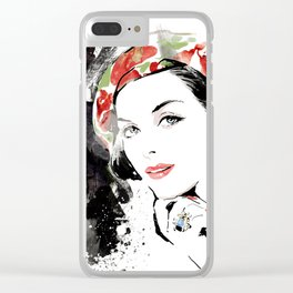 Classical Beauty, Fashion Painting, Fashion IIlustration, Vogue Portrait, Black and White, #12 Clear iPhone Case