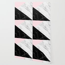 pink black and white geometric marble Wallpaper