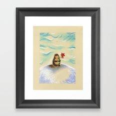 Hedgie + flower Framed Art Print