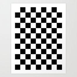 Checkered - White and Black Art Print