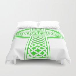 St Patrick's Day Celtic Cross Green and White Duvet Cover