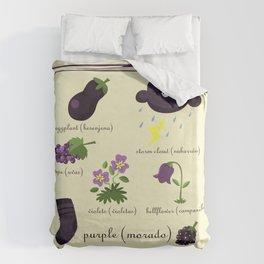 Colors: purple (Los colores: morado) Duvet Cover